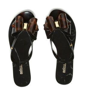 Melissa Harmonic Black Twin Bow Flip Flops
